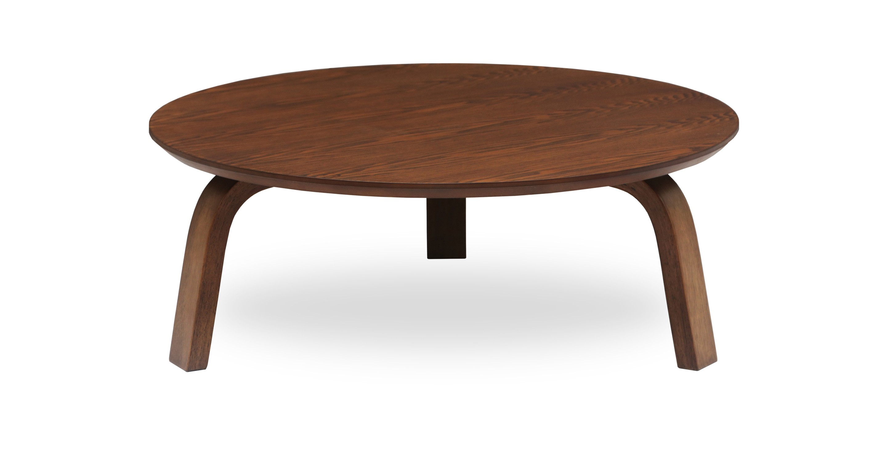 Nes cocoa wood round coffee table coffee tables article modern mid century and Furniture coffee tables