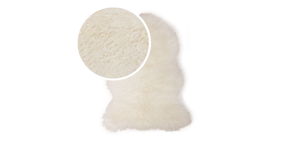 Balla Ivory Sheepskin Throw 2 x 3