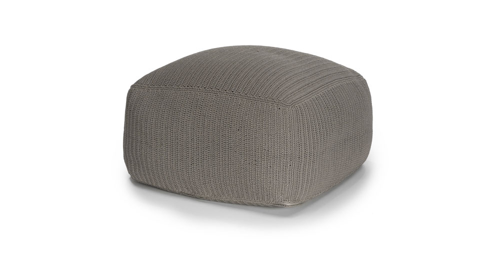 Sunda Pebble Gray Square Pouf