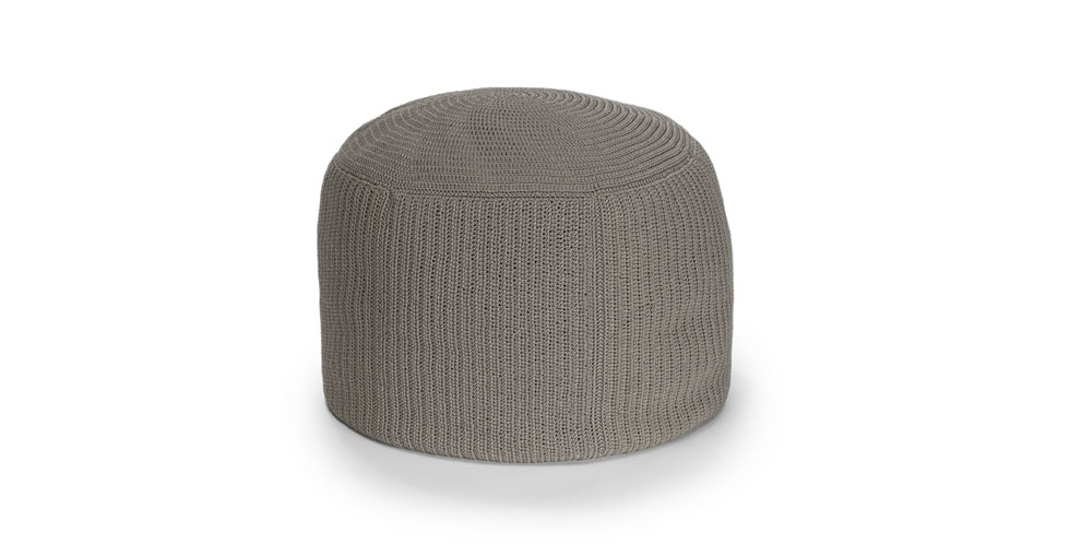 Sunda Pebble Gray Round Pouf
