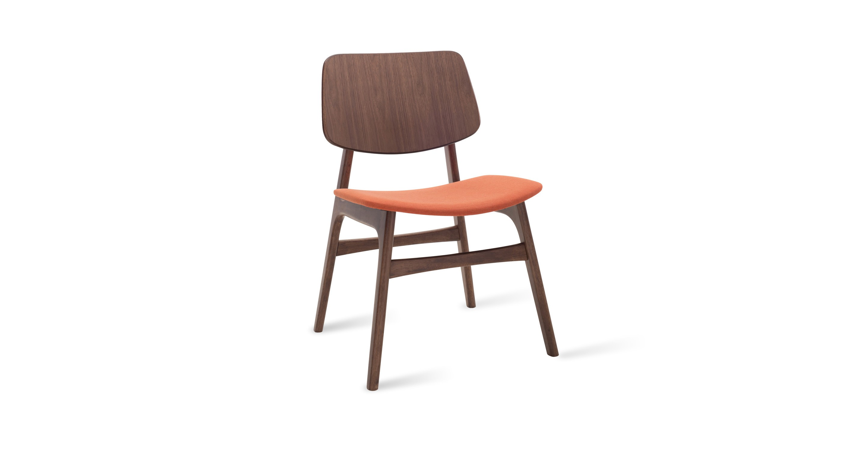 Margo carrot fabric walnut dining chair chairs stools for Contemporary walnut dining chairs