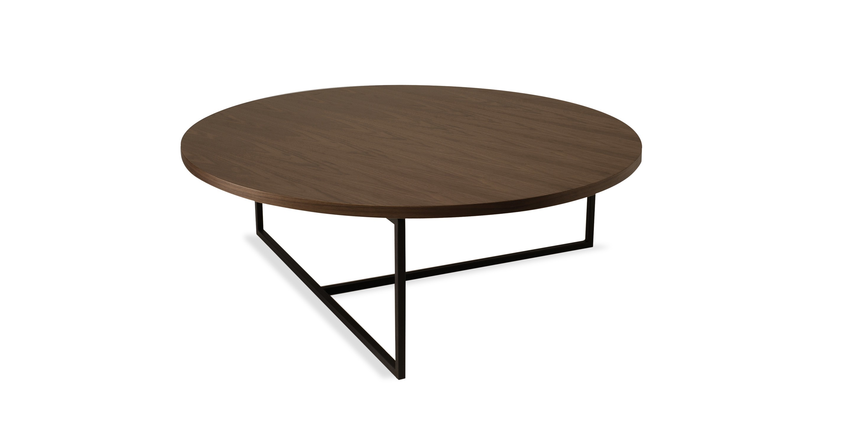 Turner walnut round coffee table coffee tables article modern mid century and Round coffee table modern