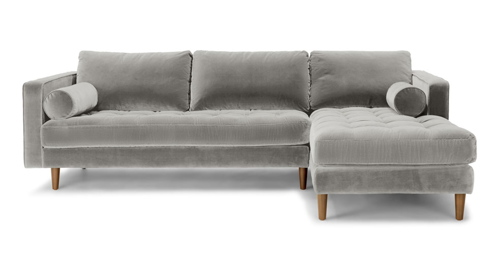 Sven Intuition Gray Right Sectional Sofa