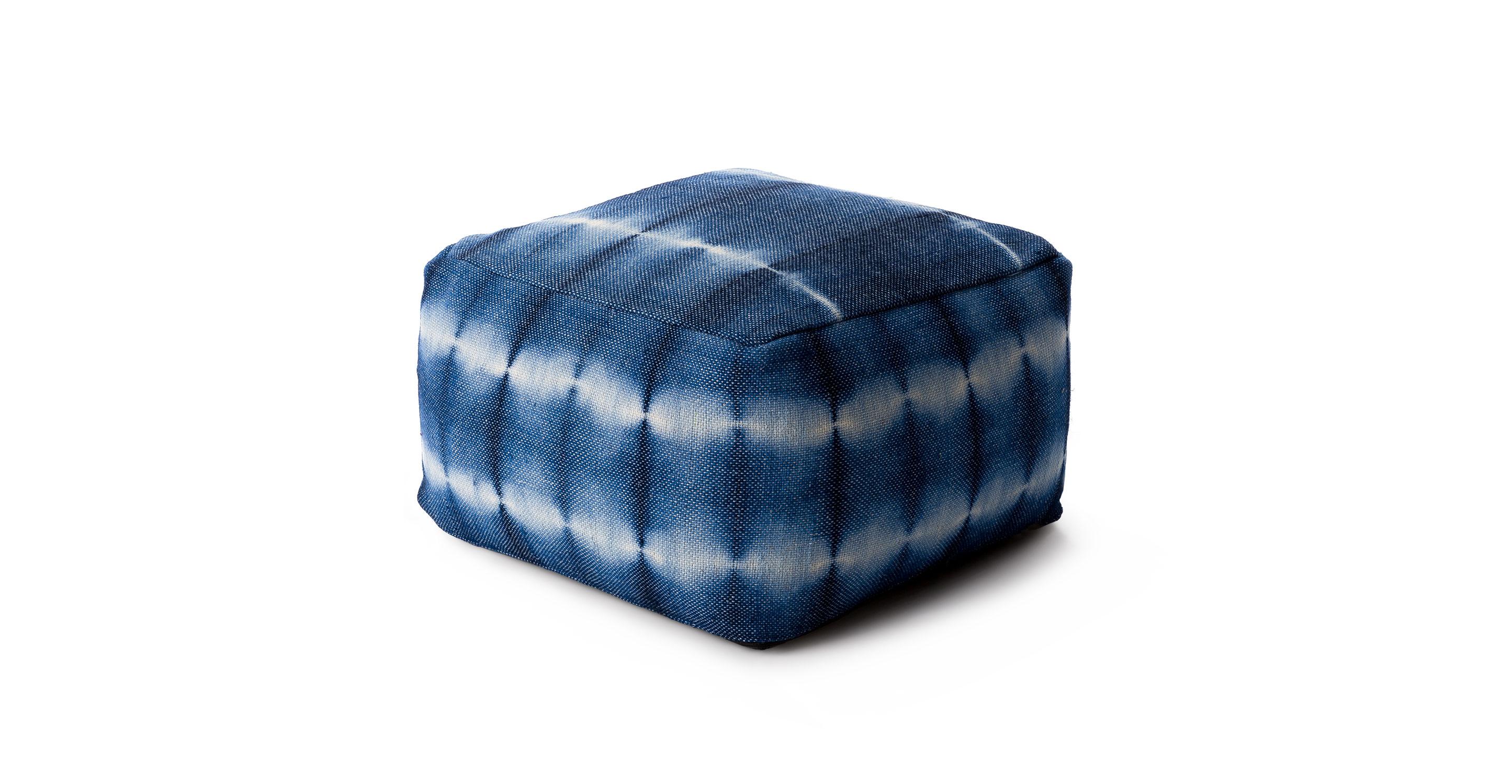 shibori indigo pouf rugs article modern mid century and scandinavian furniture. Black Bedroom Furniture Sets. Home Design Ideas