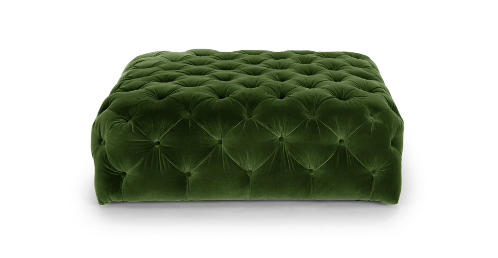 Diamond Grass Green Ottoman