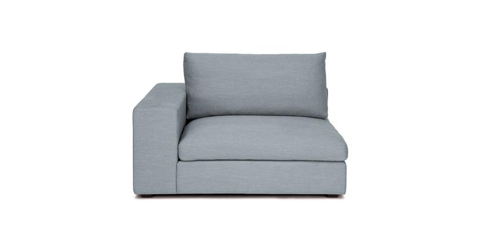 cube glacier blue left arm chair