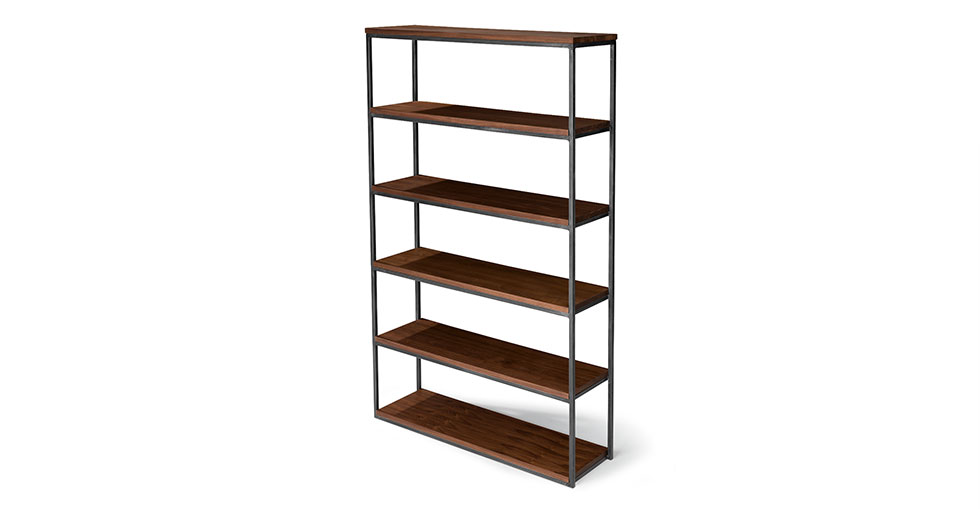 "Archive Walnut 77""H Wide Bookcase"