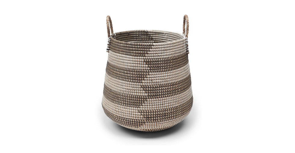 Helix Black White Herringbone Tall Basket