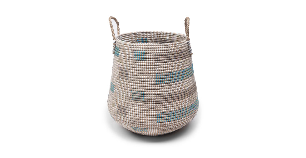 Helix Turquoise Gray Rectangles Tall Basket