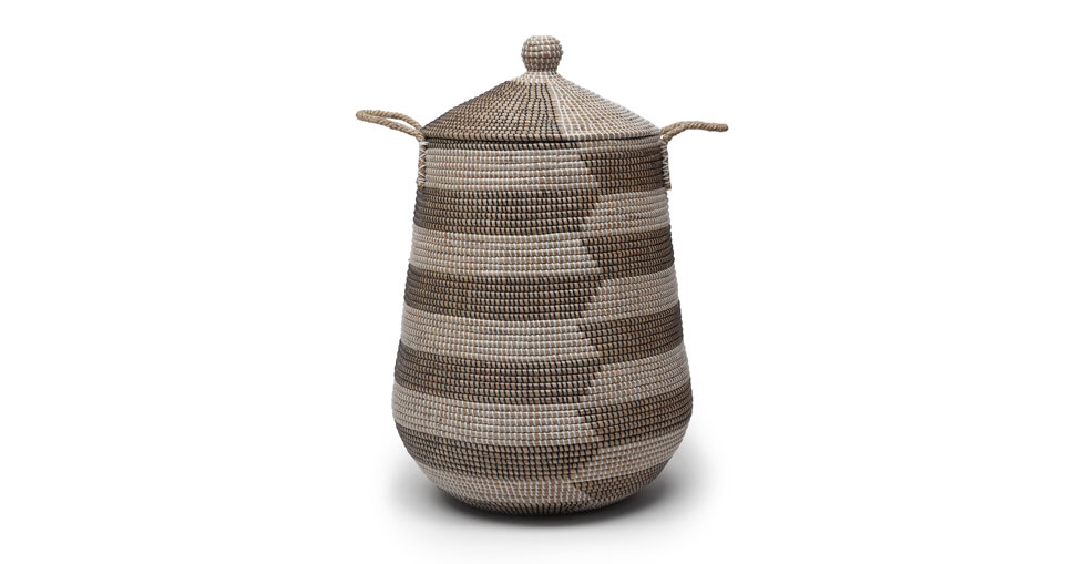 Helix Black White Herringbone Lidded Basket