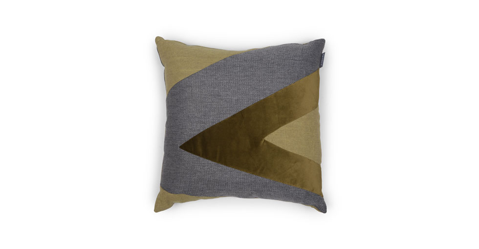 Velu Green / Gray Square Pillow