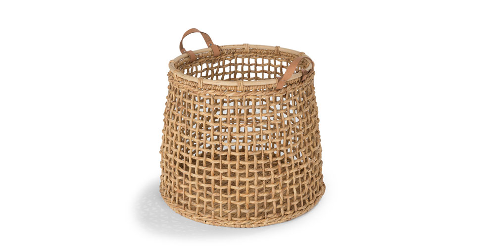 Grid Natural Tall Basket