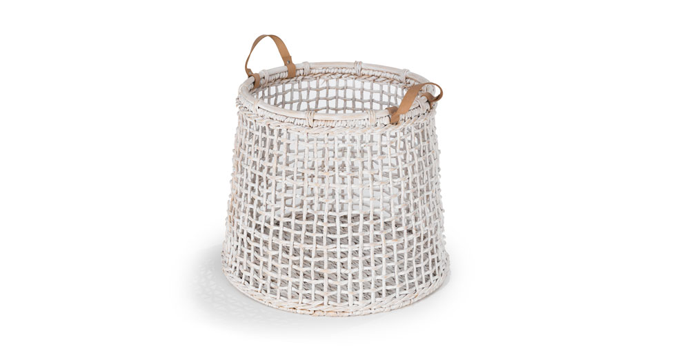 Grid White Tall Basket