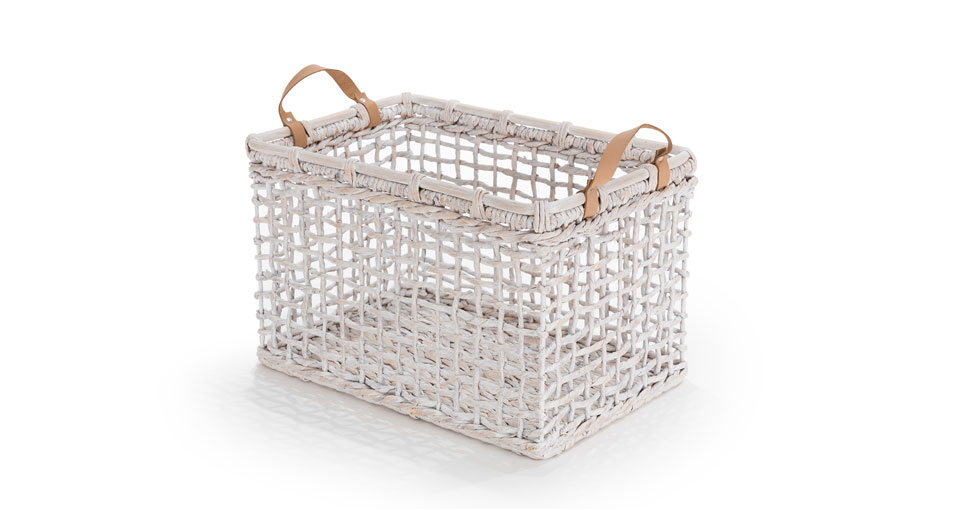 Grid White Rectangular Basket